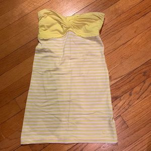 Yellow and white stripped halter top